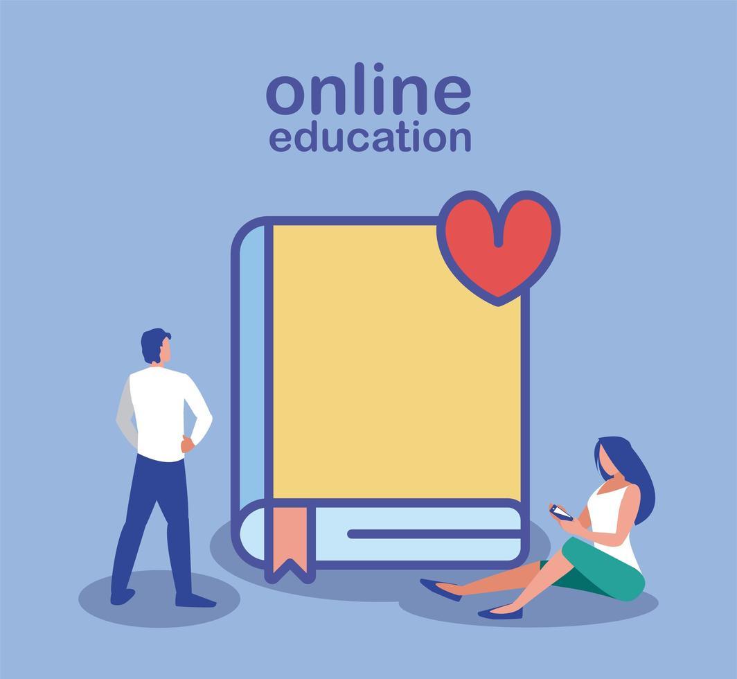 educación en línea, personas con teléfonos inteligentes y libros vector