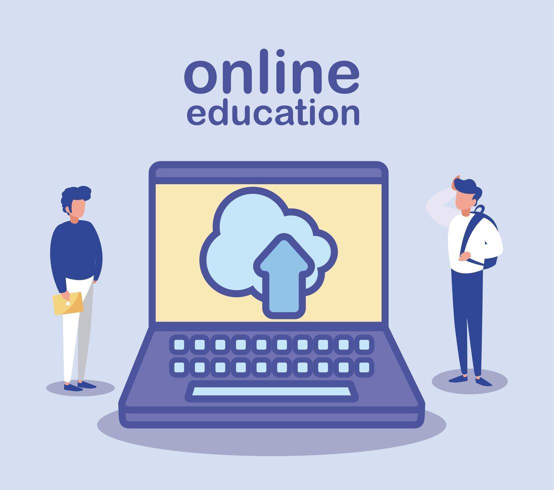 hombres con laptop, educación en línea vector
