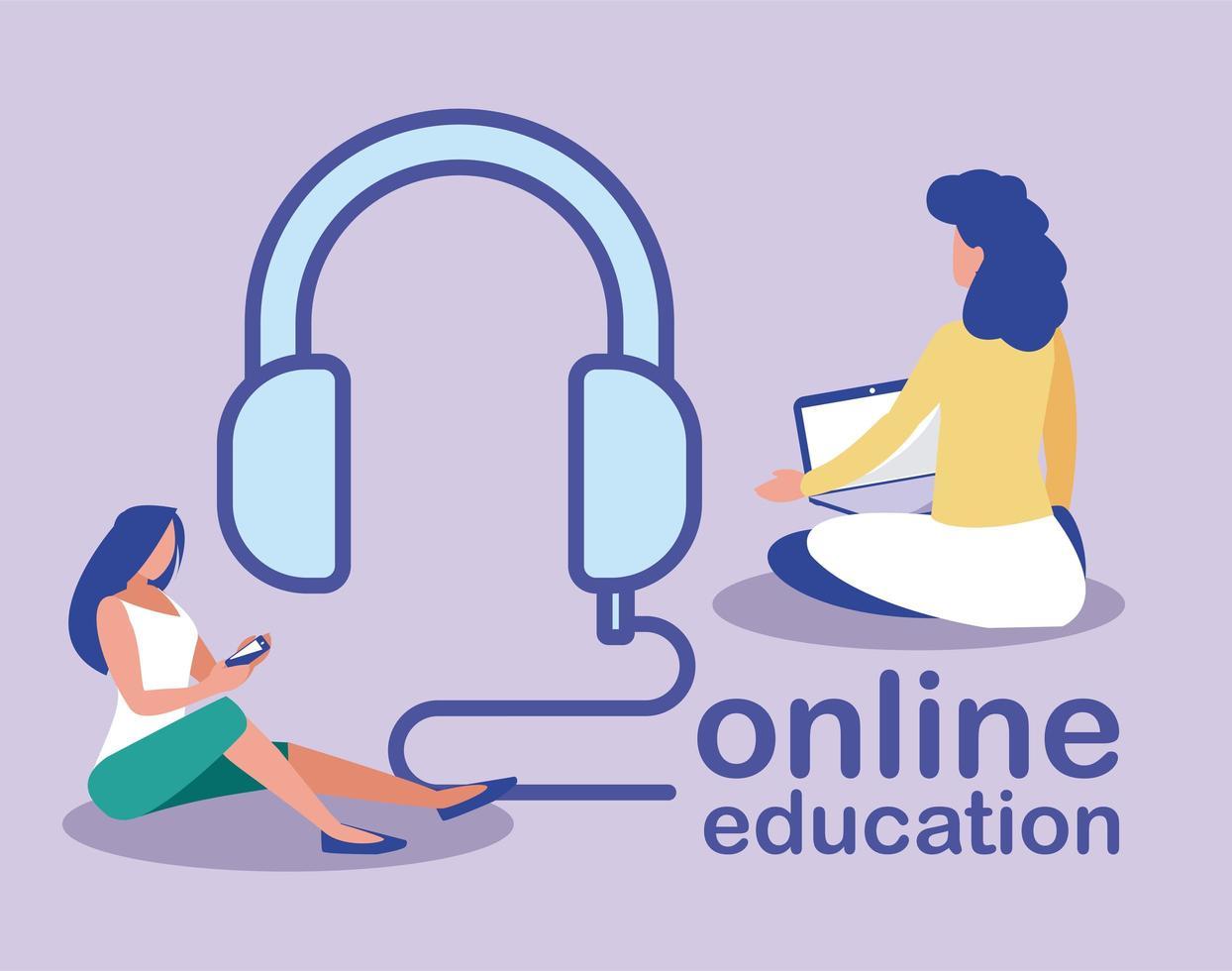 mujeres con auriculares y aparatos, educación en línea vector