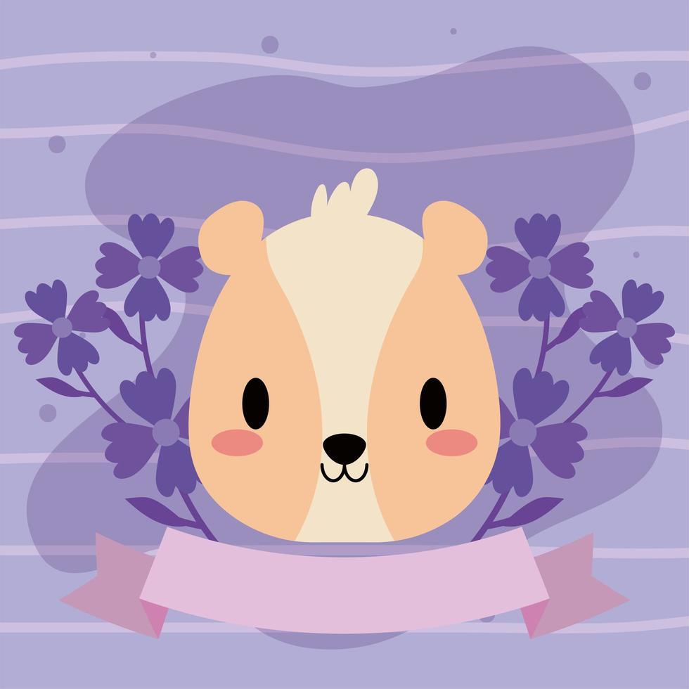 cabeza de hámster kawaii con flores vector