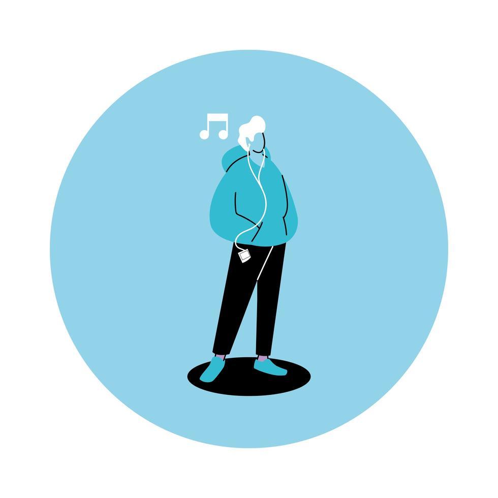 joven con auriculares con smartphone o reproductor de música vector
