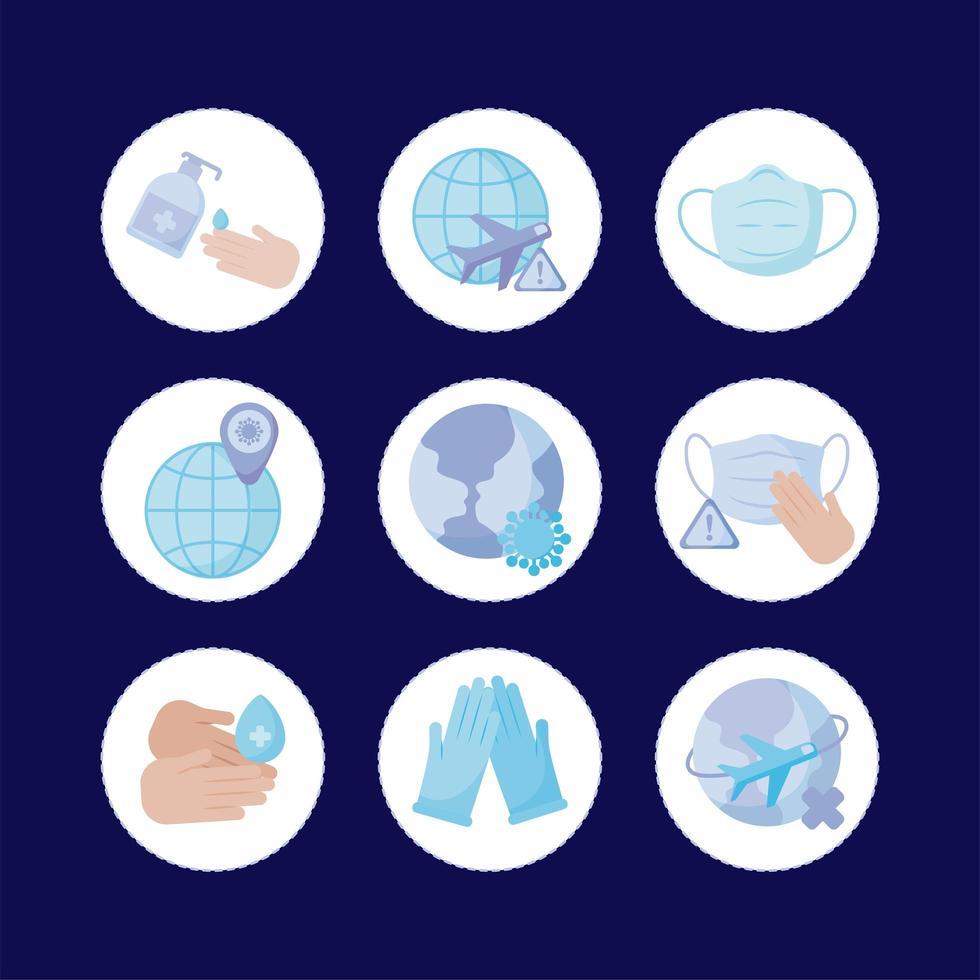 Máscara médica y covid19 conjunto de iconos de diseño vectorial vector