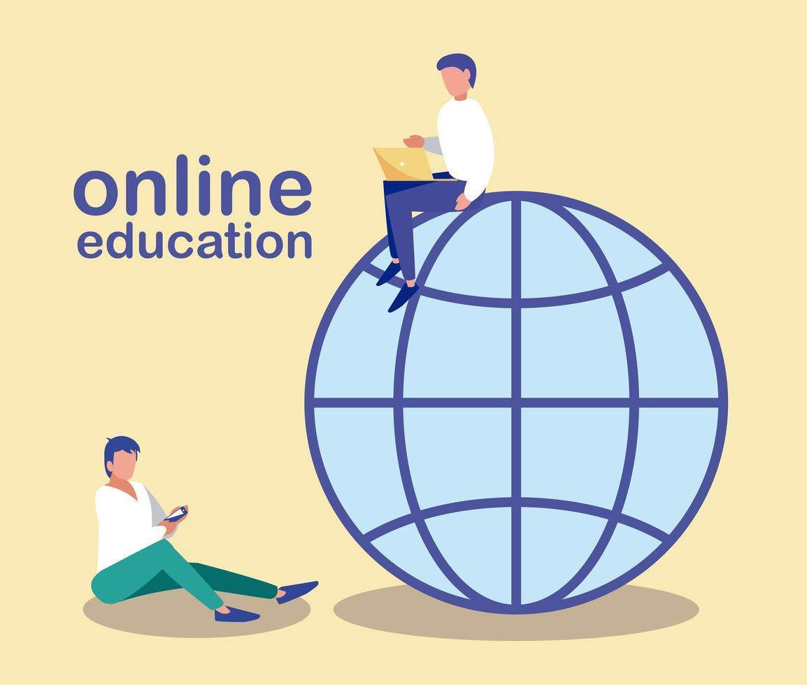 hombres con gadgets buscan información en la web, educación en línea vector