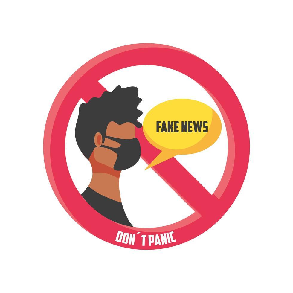 señal de advertencia, no se asuste por las noticias falsas vector
