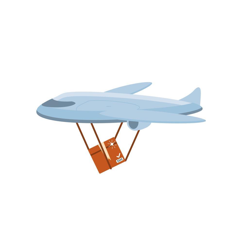 Transporte de mercancías en avión sobre fondo blanco. vector