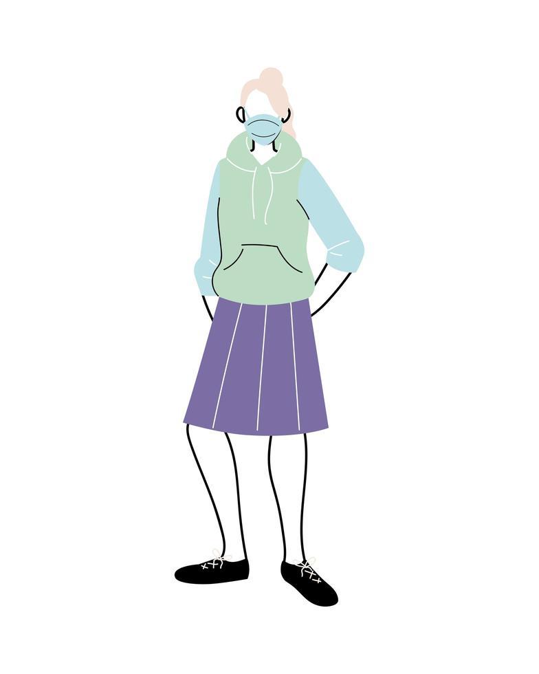 Mujer joven con máscara médica de pie sobre fondo blanco. vector