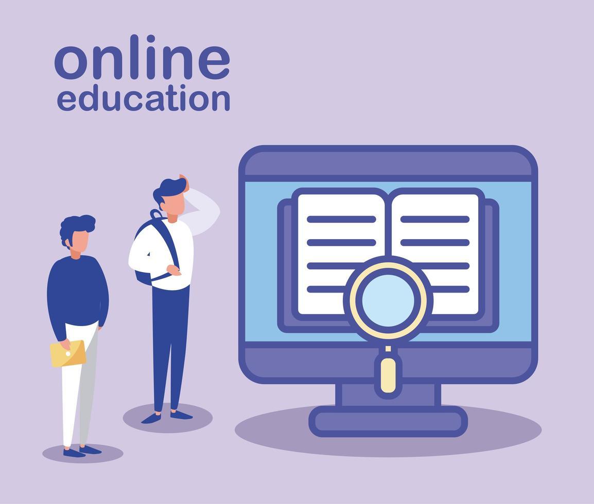 hombres con computadora de escritorio, educación en línea vector