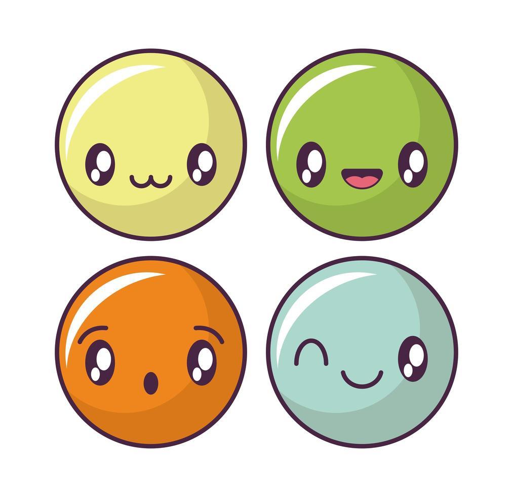 conjunto de iconos de cara feliz, emoticonos de estilo kawaii vector