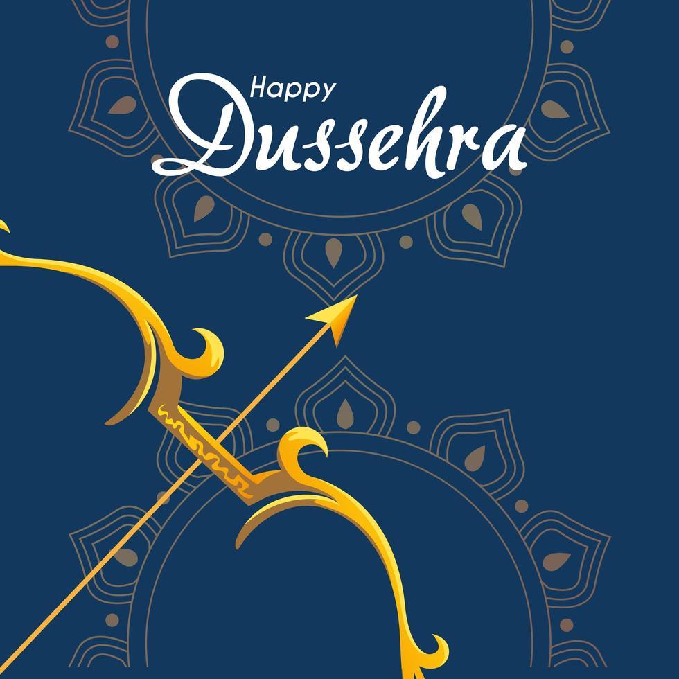 Arco dorado con flecha delante de adornos de mandalas sobre fondo azul diseño vectorial vector