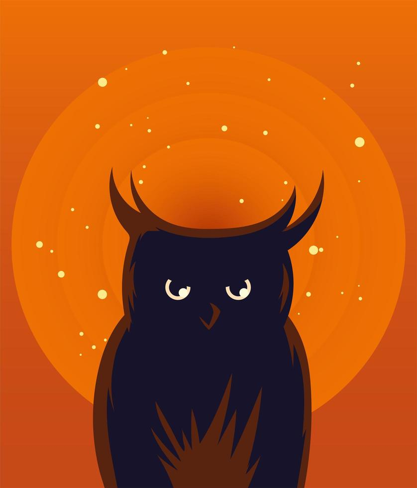 diseño de vector de dibujos animados de búho de halloween