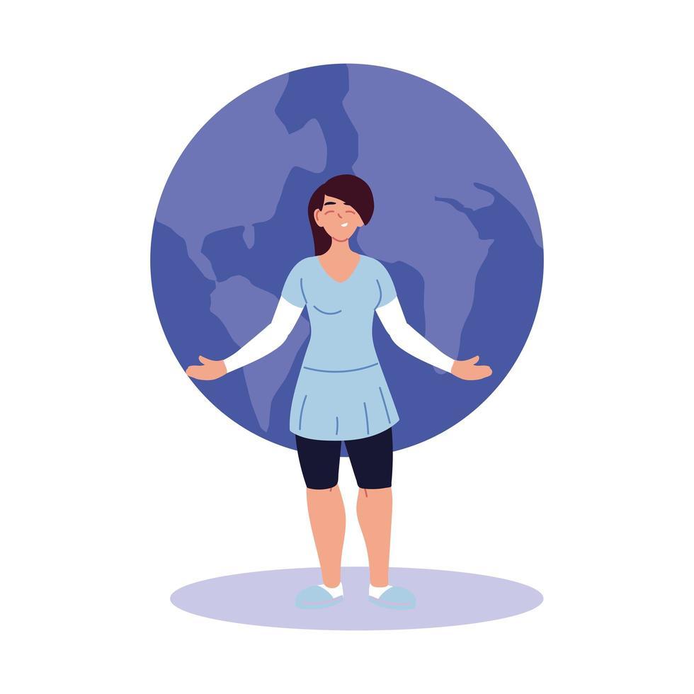 Dibujos animados de mujer de cabello negro frente a diseño vectorial de esfera mundial vector