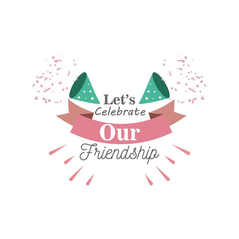 Celebremos nuestra amistad con confeti, diseño de vector de icono de estilo detallado