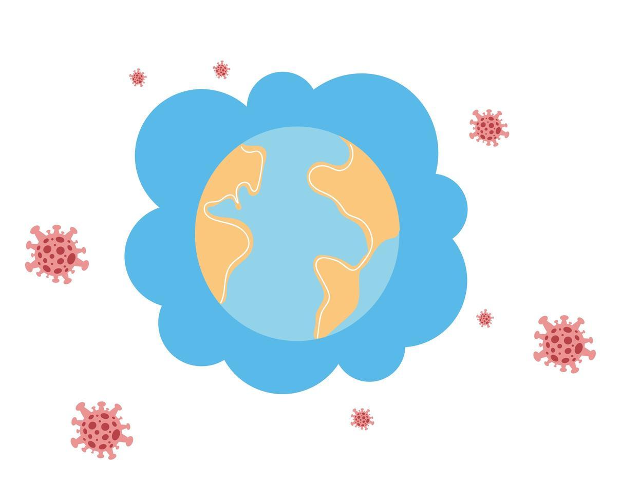Planeta Tierra en pandemia sobre fondo blanco. vector
