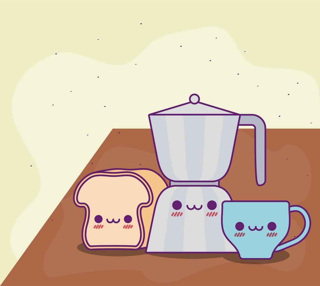 Diseño vectorial de taza de café y pan de tetera kawaii vector