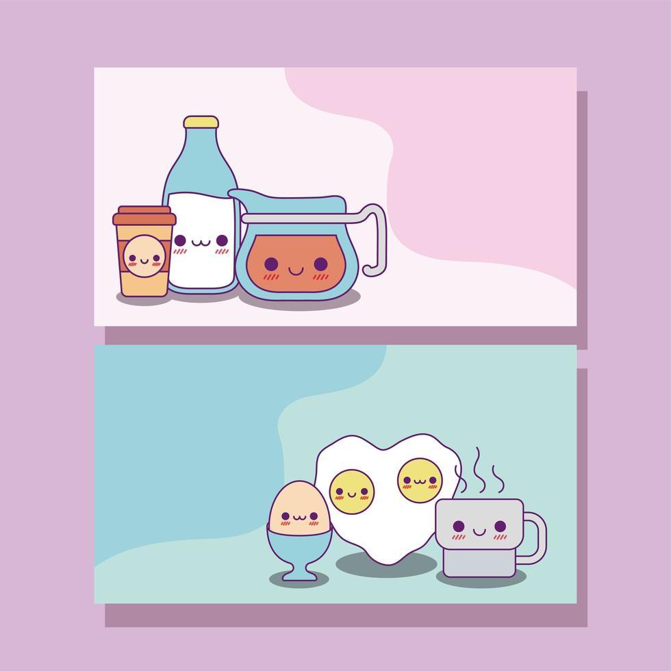 Kawaii food labels cards vector design