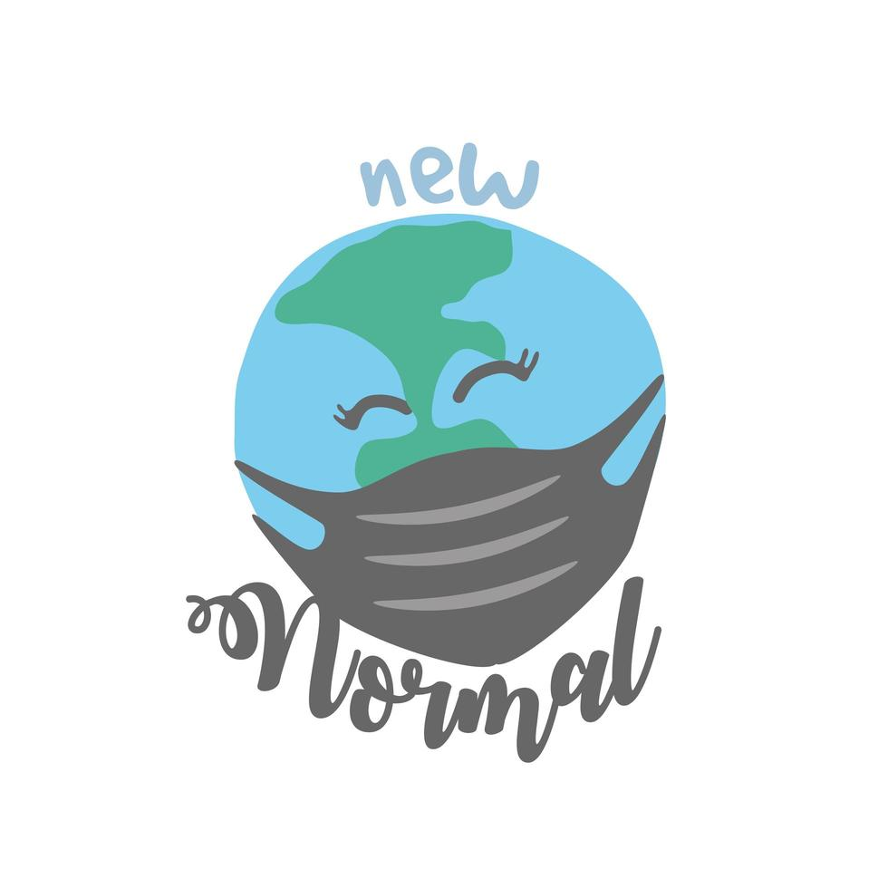 new normal lettering with happy Earth wearing a medical mask vector