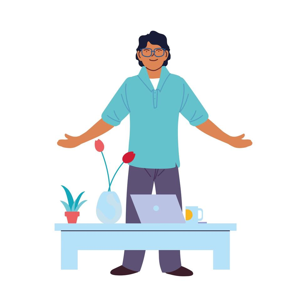 Hombre de dibujos animados con laptop en diseño vectorial de mesa vector