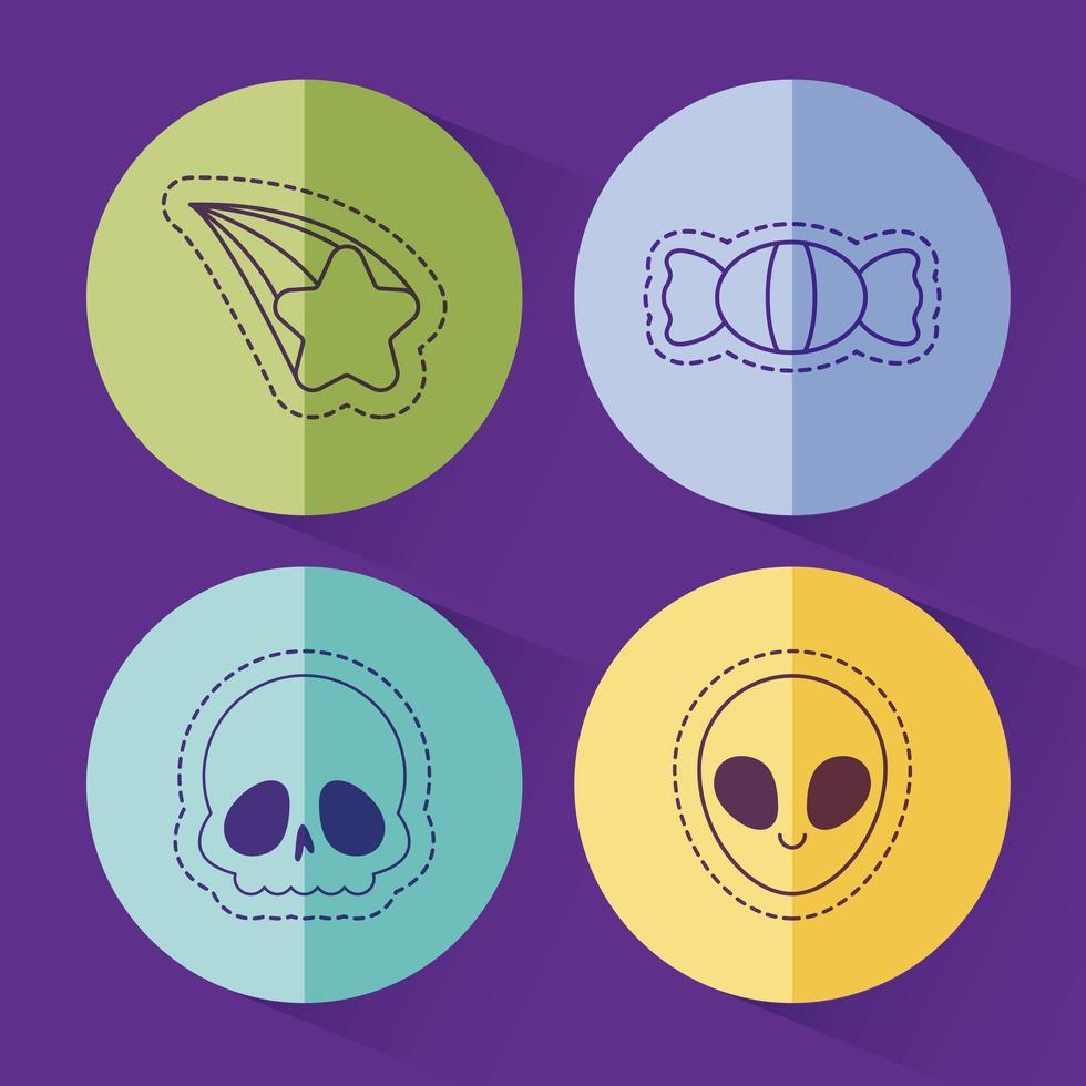 cráneo de caramelo estrella y diseño de vector alienígena