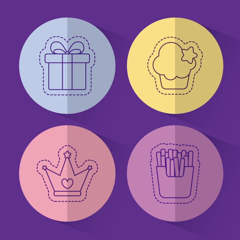 Corona de muffin de regalo y diseño vectorial de papas fritas vector