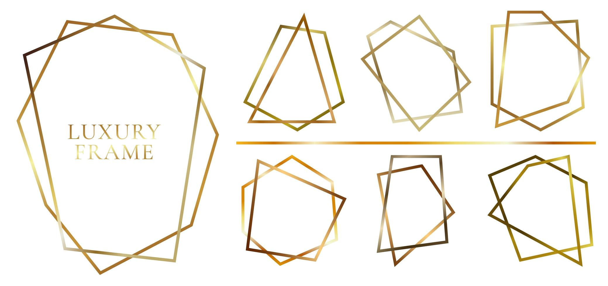 Set of modern shiny golden polygonal shapes vector
