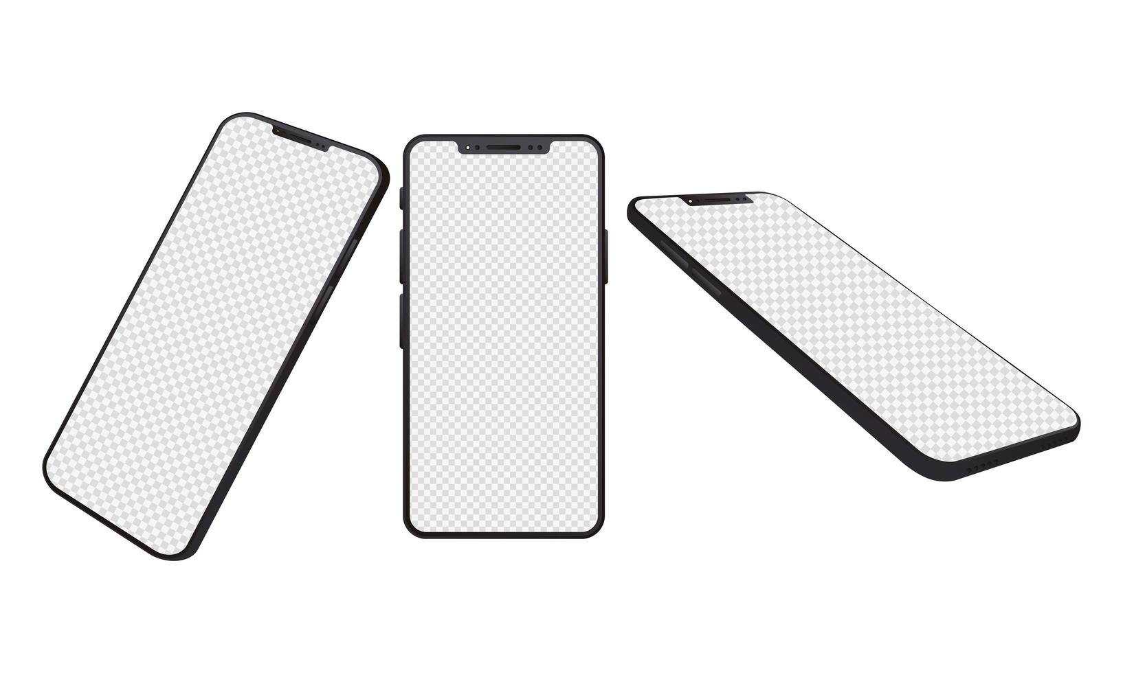 Plain smartphone mock-up devices vector