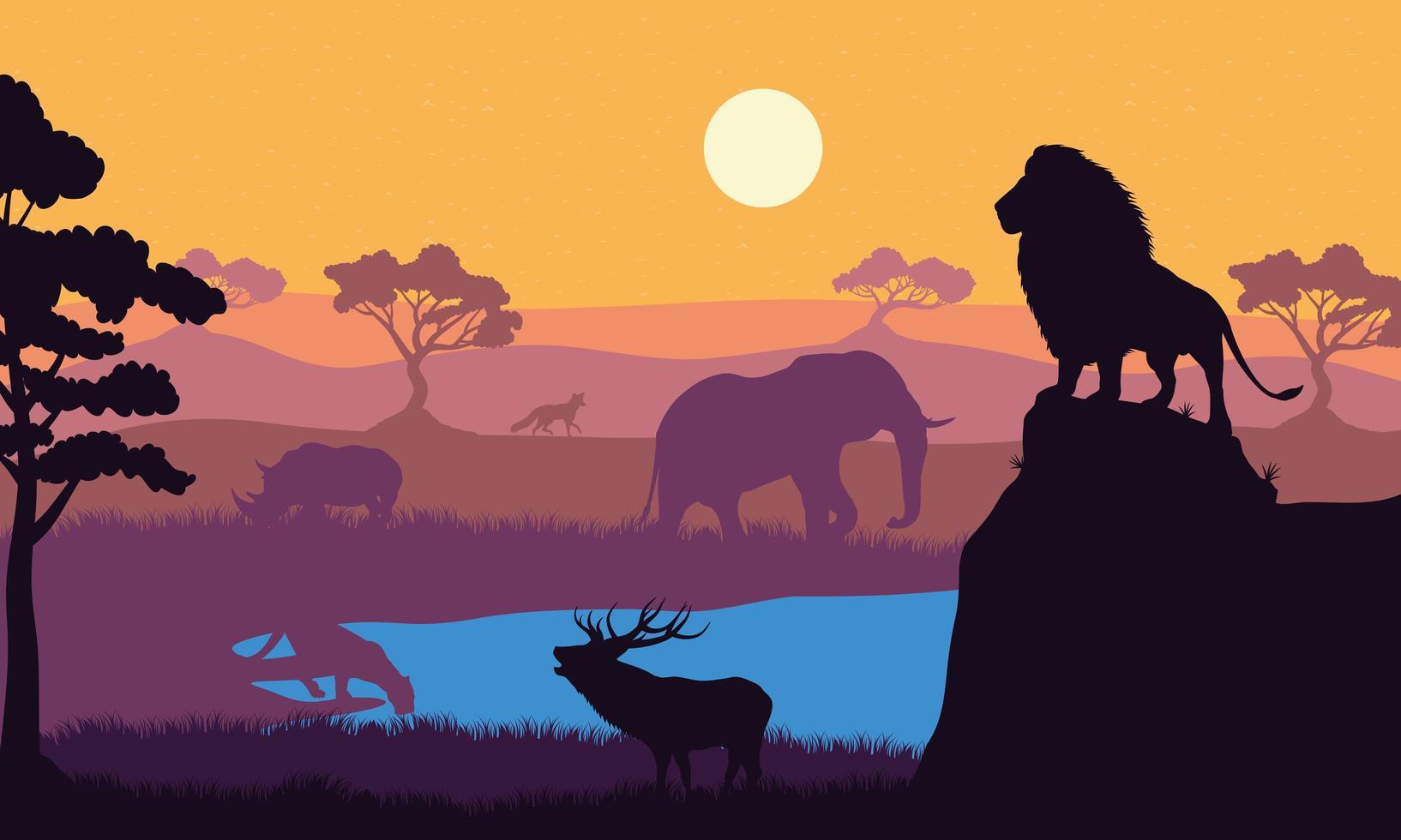 escena de siluetas de fauna de animales salvajes vector