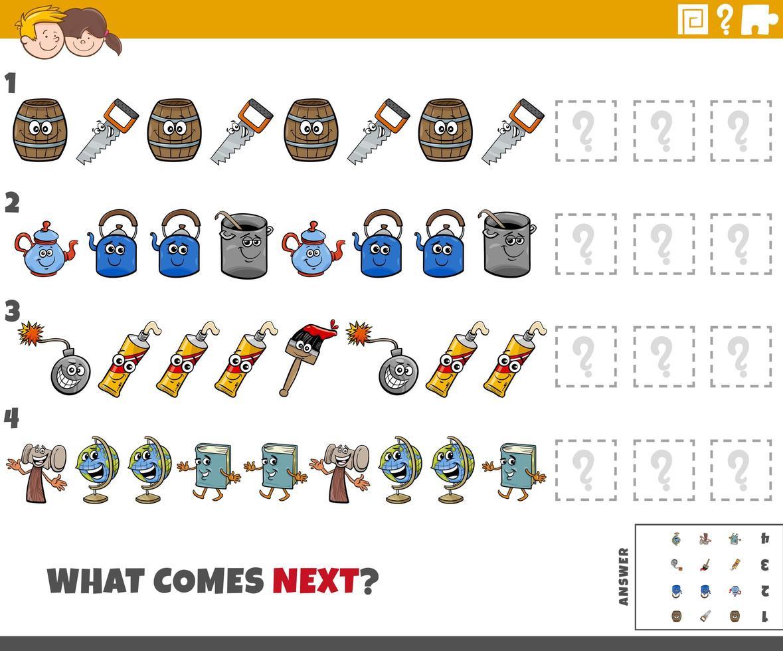 tarea de patrón educativo para niños con objetos de dibujos animados vector