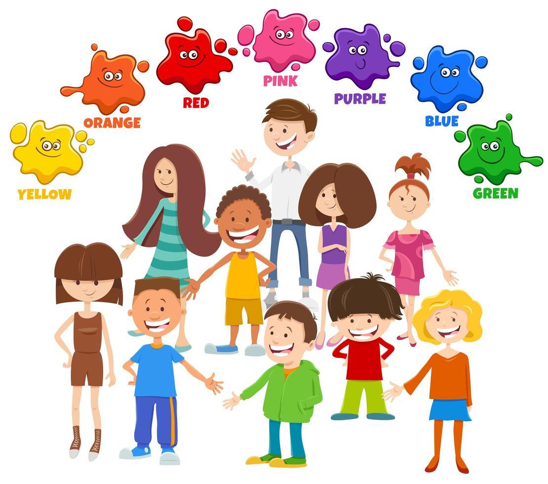 colores básicos con grupo de personajes infantiles. vector