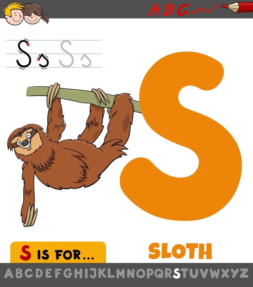 hoja de trabajo de la letra s con animal perezoso de dibujos animados vector