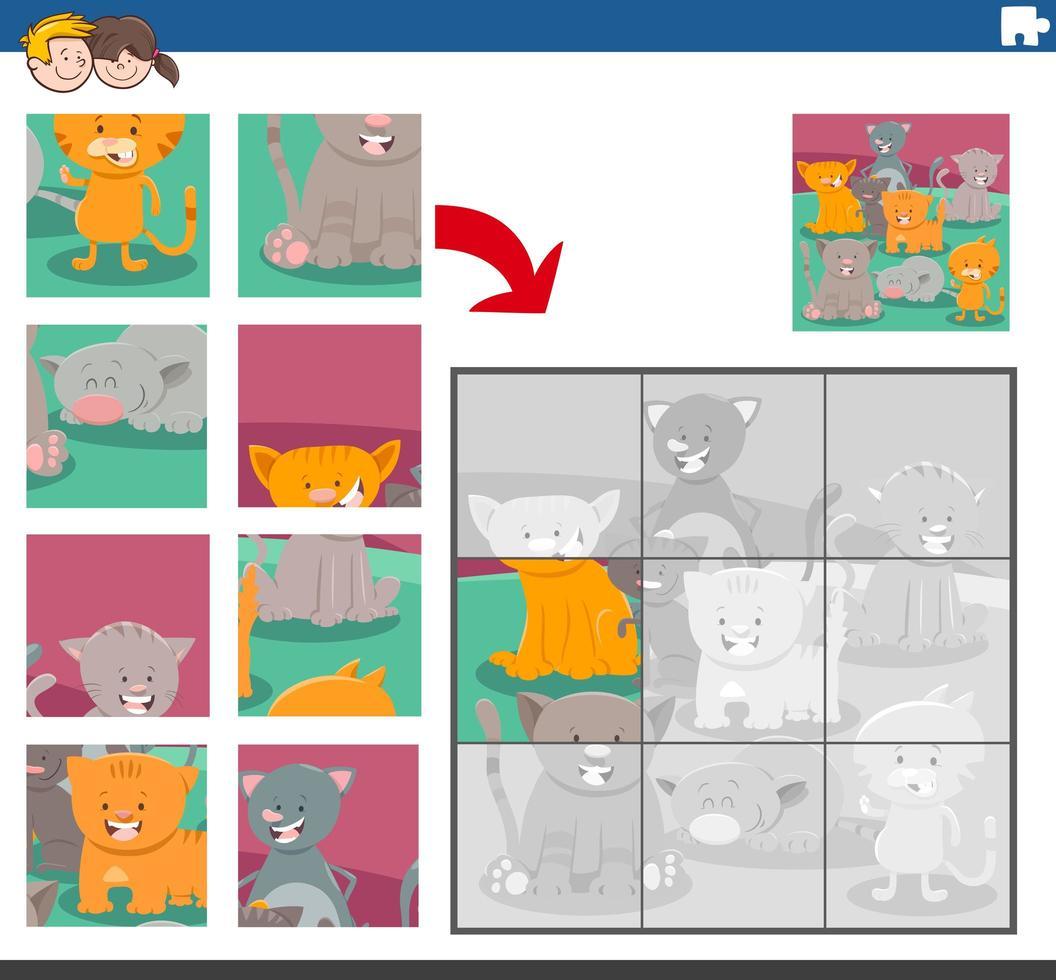 juego de rompecabezas con personajes de animales gatos vector