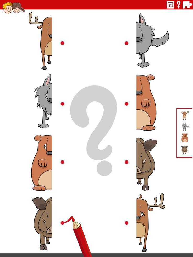 Combina mitades de imágenes con tareas educativas de animales salvajes. vector