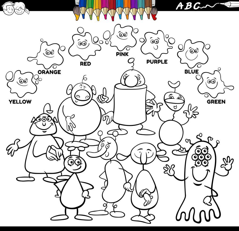 Libro de colores de colores básicos con personajes alienígenas. vector