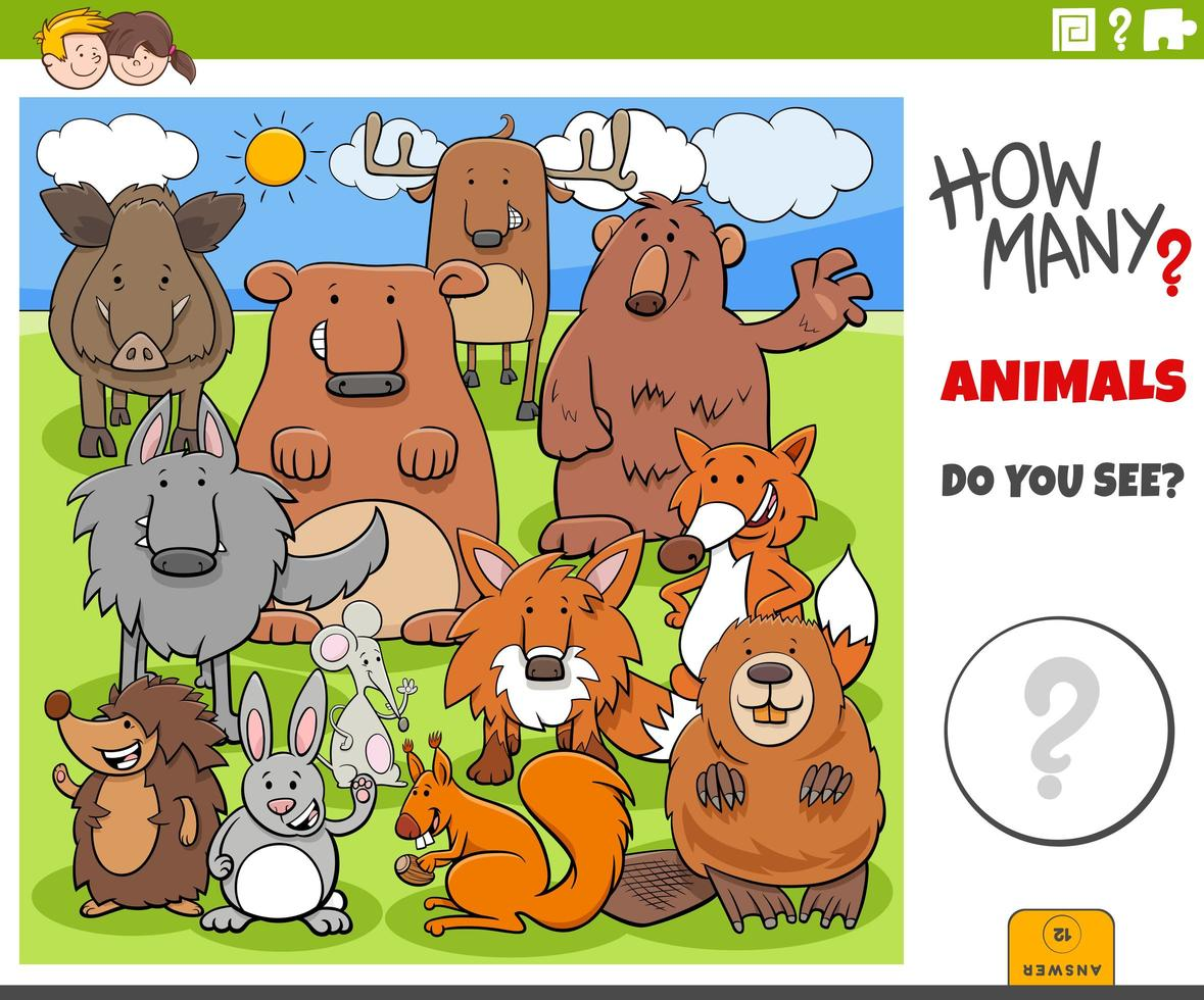 how many animals educational game for children vector