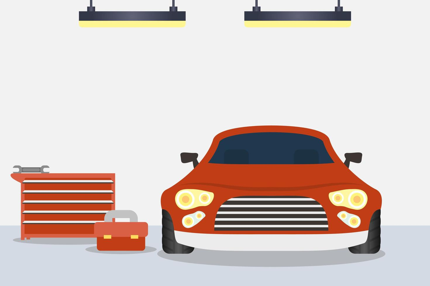 Indoors mechanic shop with car vector