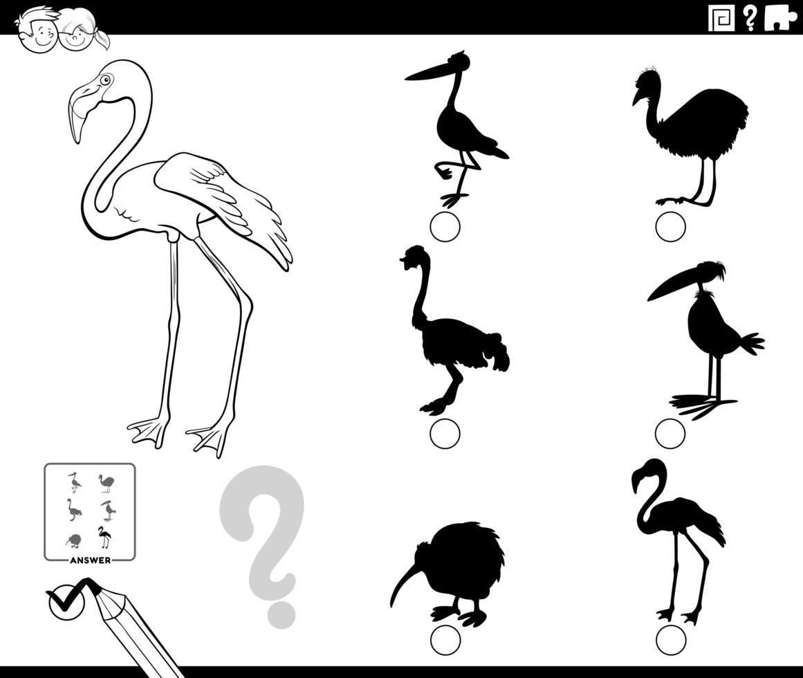 shadows game with flamingo character coloring book page. vector