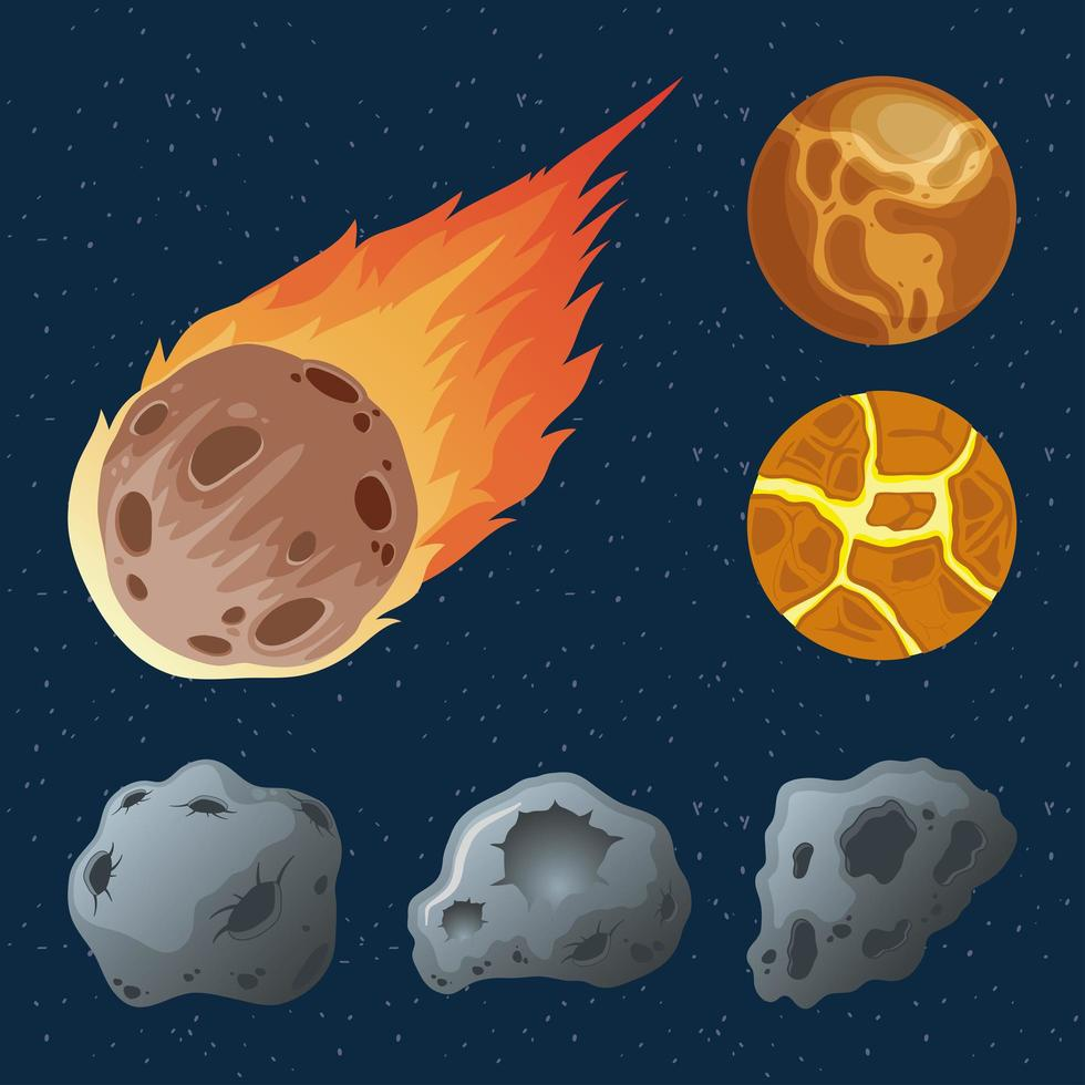 asteroids with planets and meteorite on fire icons vector