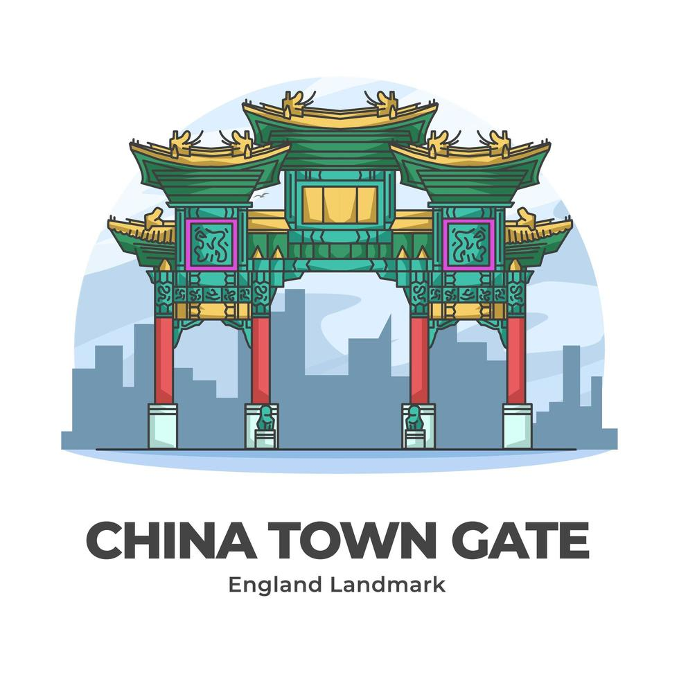 China Town Gate England Landmark Minimalist Cartoon vector