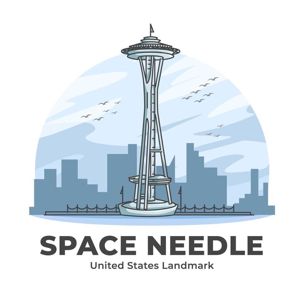 Space Needle United States Landmark Minimalist Cartoon vector