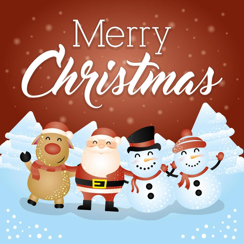 Christmas card with cute characters vector