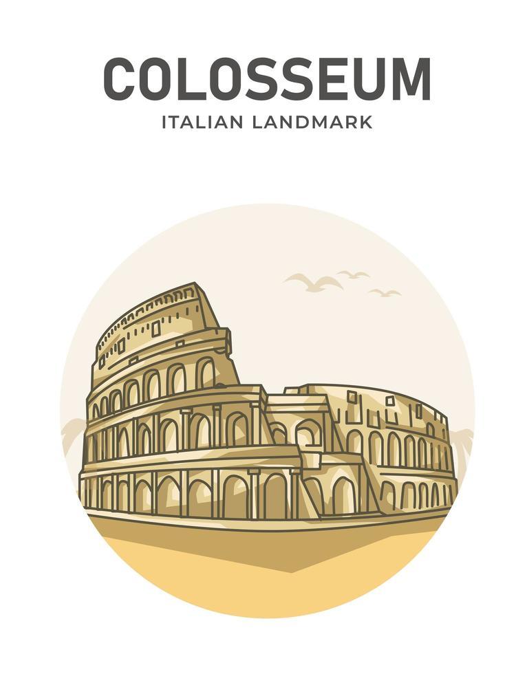 Colosseum Italian Landmark Minimalist Cartoon vector