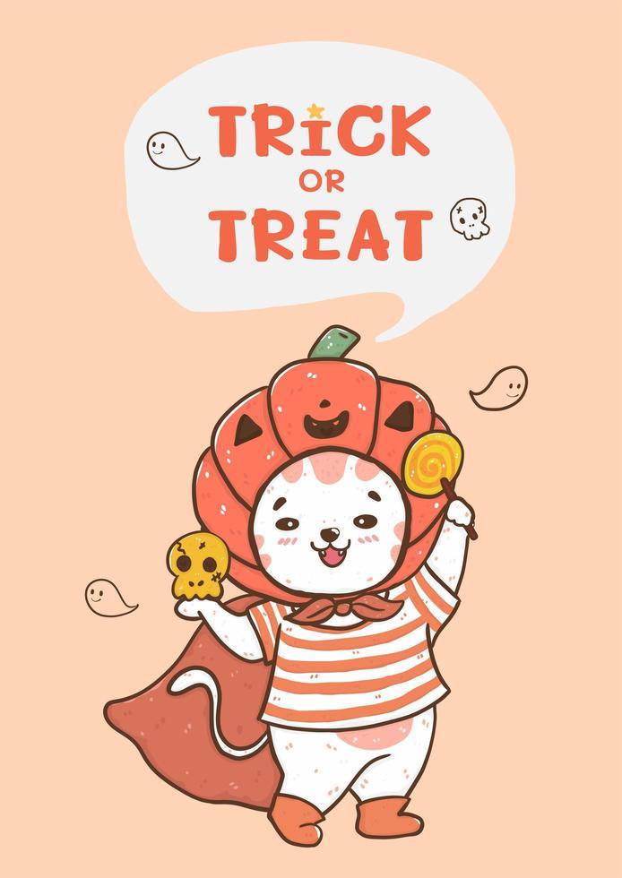 Cute Halloween cat with pumpkin hat vector