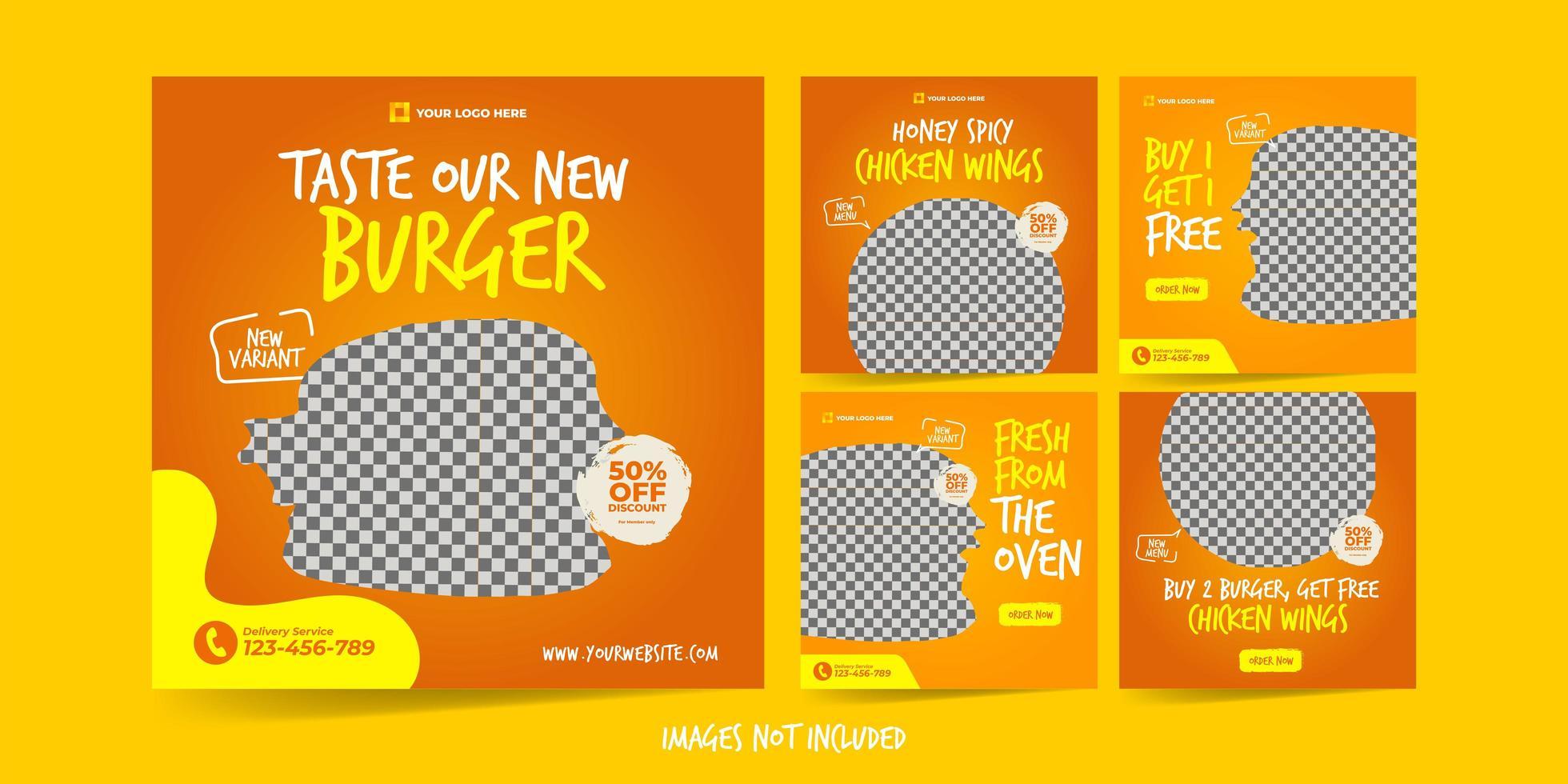 hamburguesa para el conjunto de plantillas de publicidad en redes sociales vector