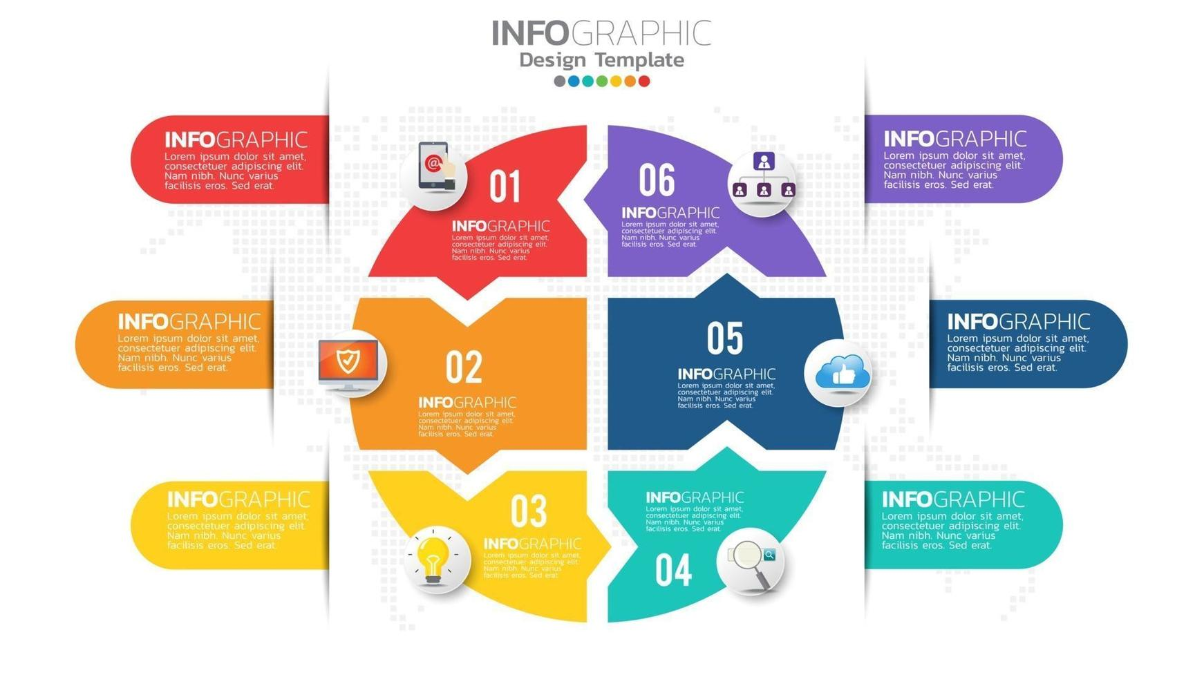 Infograph 6 step color element with circle graphic chart diagram, business graph design. vector