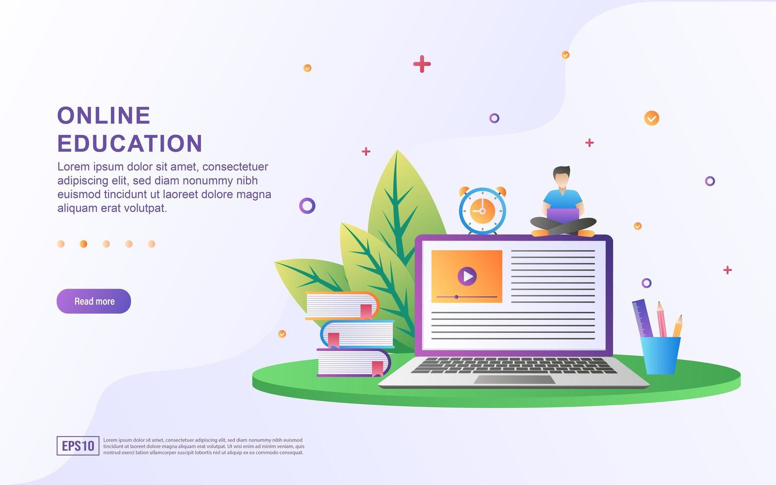concepto de ilustración de la educación en línea. educación, formación y cursos en línea, aprendizaje. vector