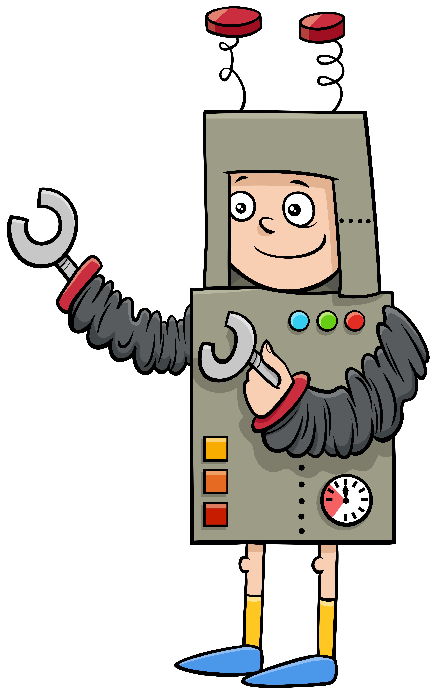 Costume Halloween Robot.Boy In Robot Costume At Halloween Party Cartoon Illustration 1945054 Vector Art At Vecteezy