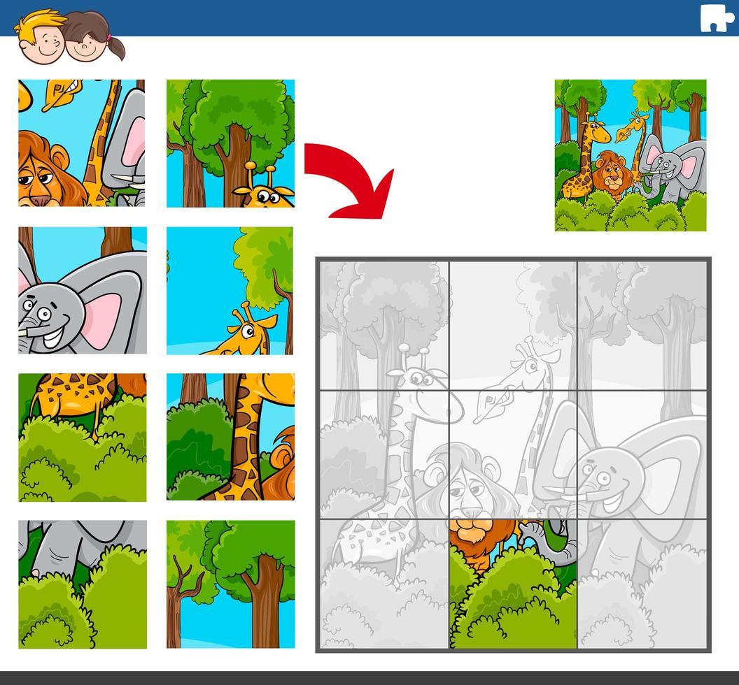 juego de rompecabezas con personajes cómicos de animales salvajes vector