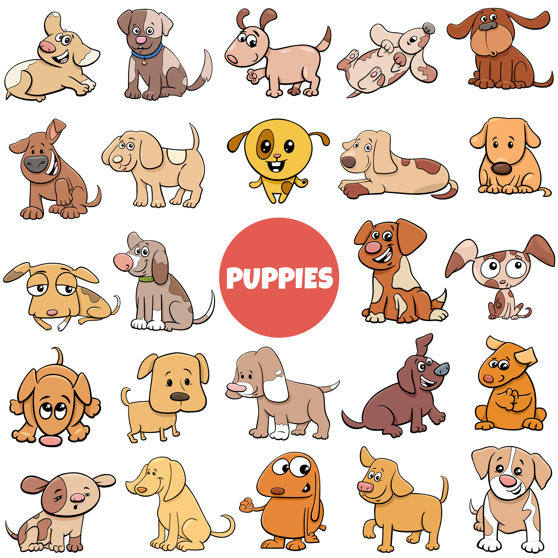 Cartoon Puppies Dogs Comic Characters Big Set Download Free Vectors Clipart Graphics Vector Art