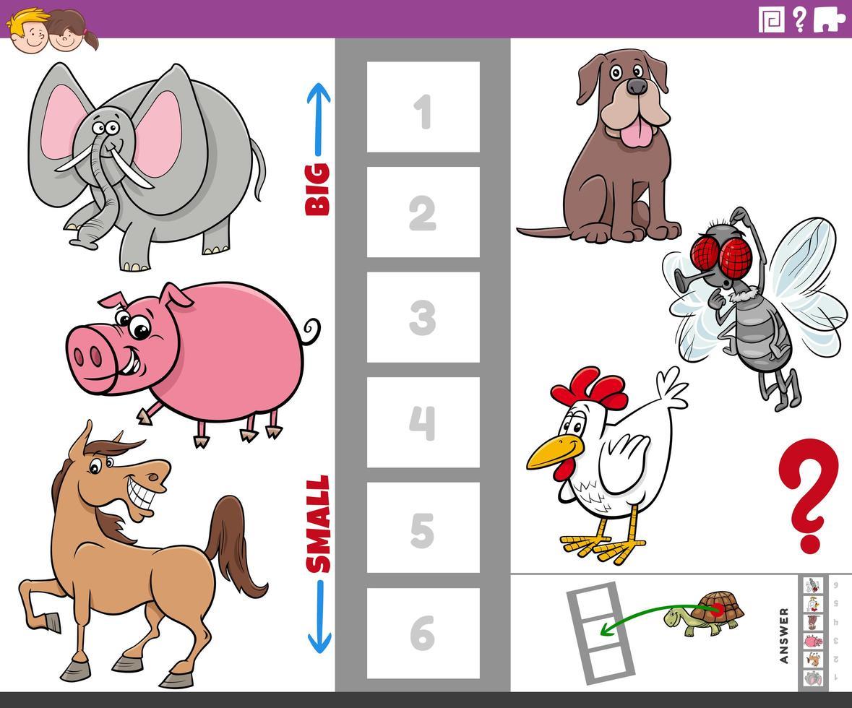 Tarea educativa con animales grandes y pequeños para niños. vector