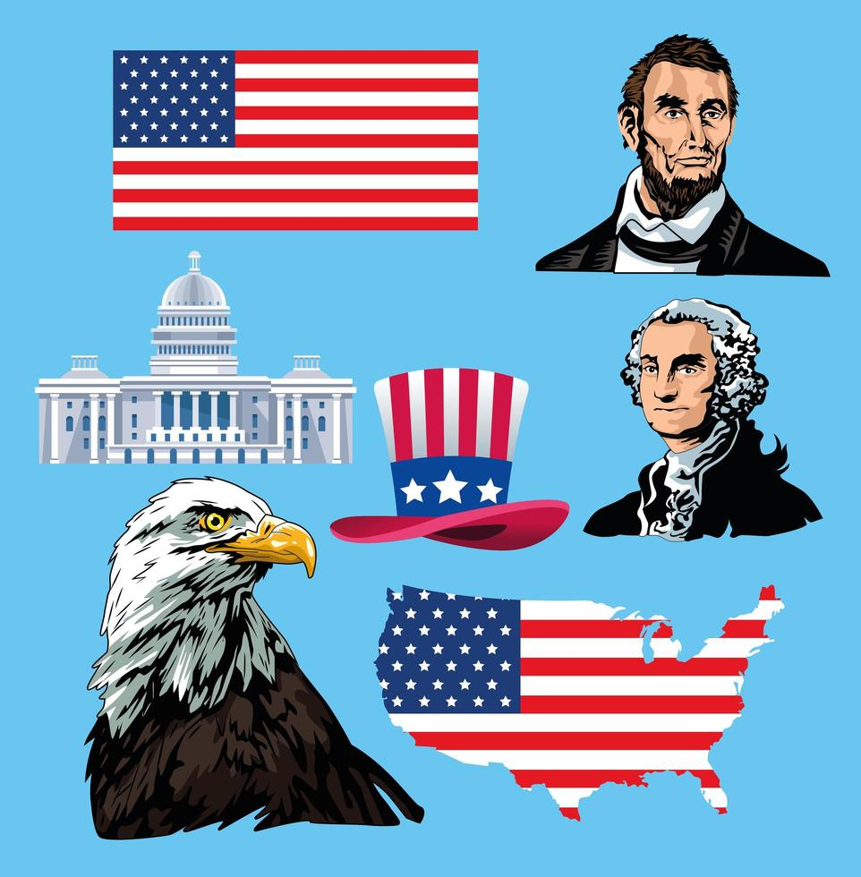happy presidents day poster with icons vector