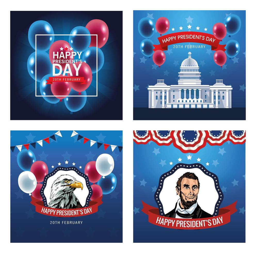 happy presidents day poster with set of scenes vector